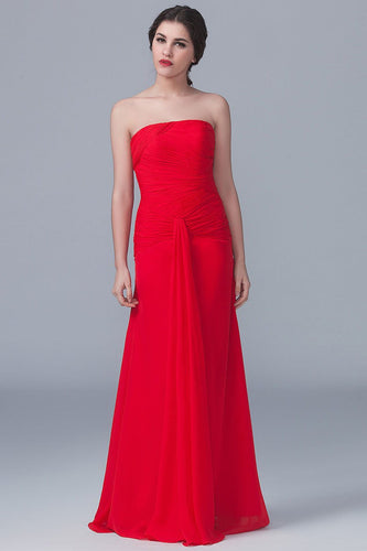Red Chiffon Strapless Long Solid Ruched Sheath Bridesmaid Dress