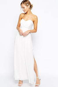 Strapless Sweetheart Ankle-Length Chiffon Bridal Dress With Side Slit