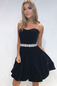 Strapless Sweetheart Short Velvet Formal Dress With Beaded Belt
