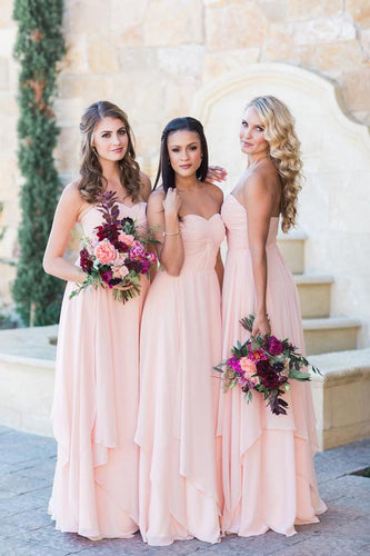 Sweetheart Strapless Floor-Length Ruched Sheath Chiffon Bridesmaid Dress With Layers