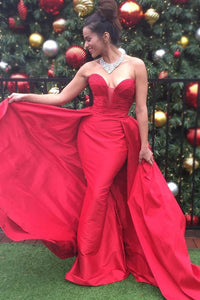 Chic Sweetheart Sleeveless Long Solid Red Ruched Satin Evening Dress with Overskirt