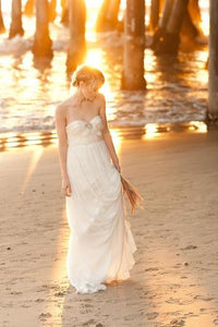 Sweetheart Sleeveless Long Solid Sheath Chiffon Beach Wedding Dress with Sweep Train