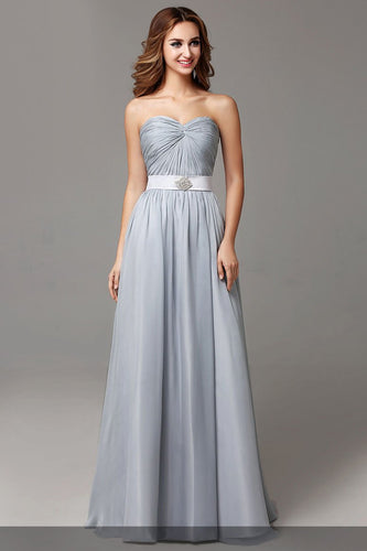 Sweetheart Sleeveless Zipper-Up Floor-Length Solid Ruched Evening Dress with Belt