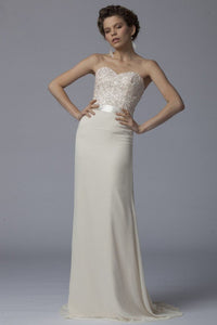 Sweetheart Sleeveless Zipper-Up Long Fit-And-Flare Chiffon Evening Dress with Sweep Train