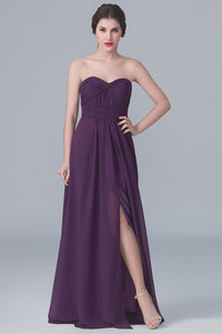 Sweetheart Strapless Full-Length Ruched Chiffon Bridesmaid Dress With Slit
