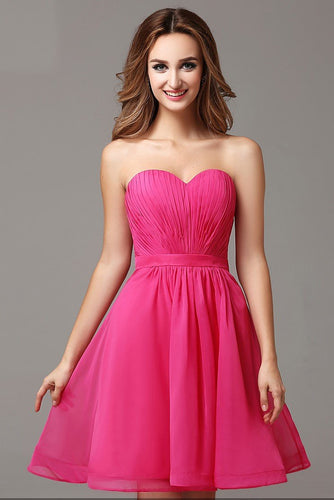 Chic Sweetheart Sleeveless Zipper-Up Short Solid Ruched Chiffon Cocktail Dress