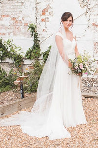 Sweetheart Strap Chiffon Sweep Train Bridal Dress With Crystal Beaded Belt