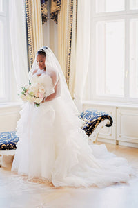 Sweetheart Strapless Tiered Ruffle Tulle Wedding Dress With Belt