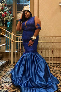 Trumpet High Neck Long Sleeve Plus Size Illusion Prom Dress With Lace Bodice