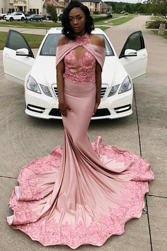 Trumpet High Neck Off-The-Shoulder Sweep Train Prom Dress With Sequins