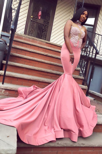 Trumpet High Neck Sleeveless Illusion Prom Dress With Sequins & Lace