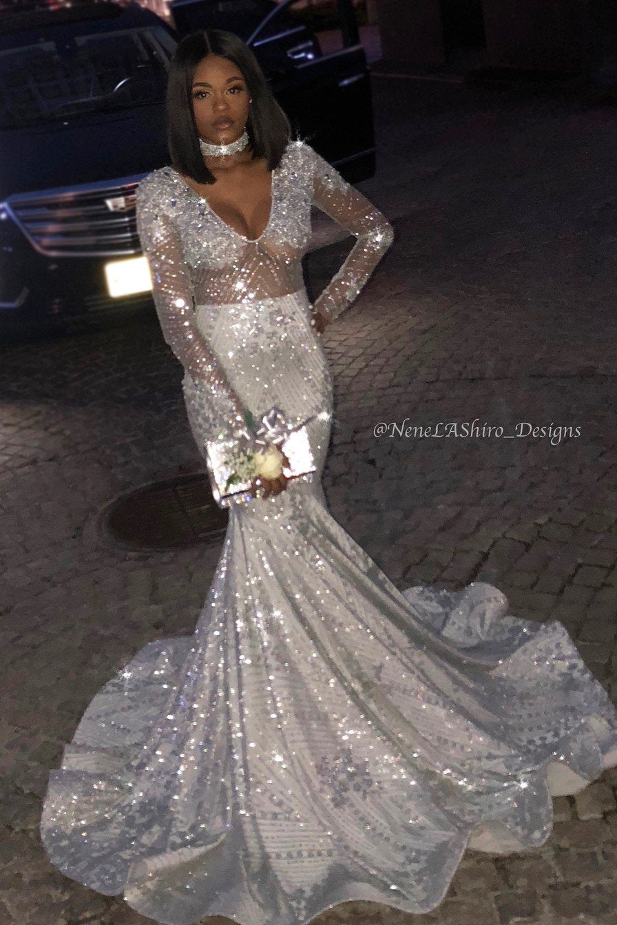 89f695f74e0f2 Trumpet Long Sleeve V-Neck Silver Illusion Prom Dress With Sequins ...