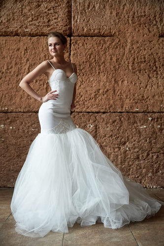 Trumpet Spaghetti Strap Sweetheart Tulle Court Train Bridal Dress With Lace