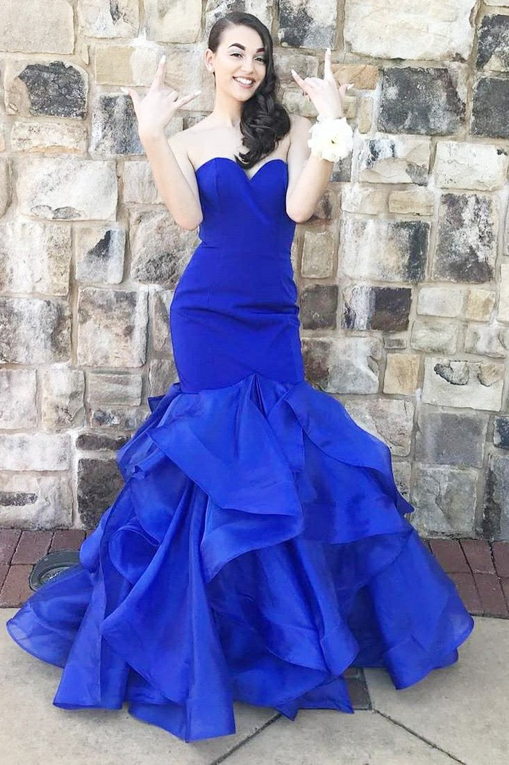 d463008bd0 Trumpet Strapless Sweetheart Tiered Ruffle Organza Prom Dress ...