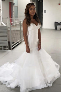 Trumpet Sweetheart Strapless Court Train Tulle Wedding Dress