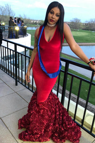 Trumpet V-Neck Court Train Prom Dress With Hand-Made Flower