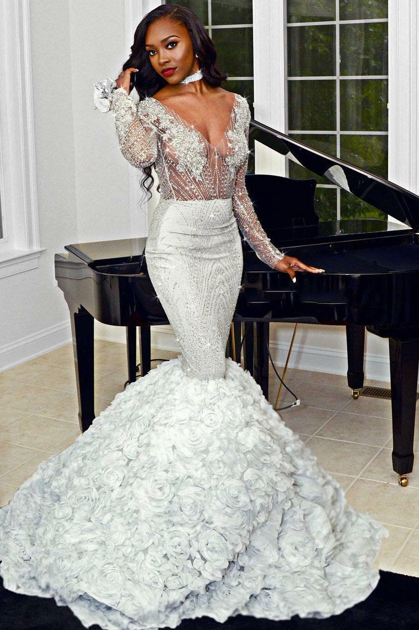 42b115185bb78 Trumpet V-Neck Long Sleeve Crystal Beaded Illusion Prom Dress With  Hand-Made Flower