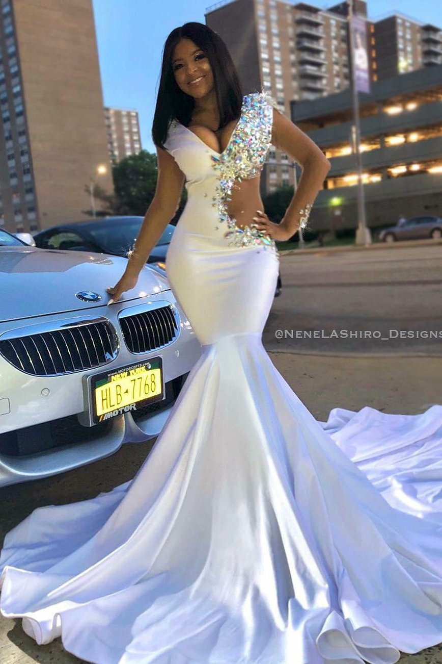 7e6e991dcbb48 Trumpet V-Neck Side Cut Out Court Train Prom Dress With Rhinestone ...