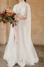 Tulle High Neck Sweep Train Wedding Dress With Lace Ponchos