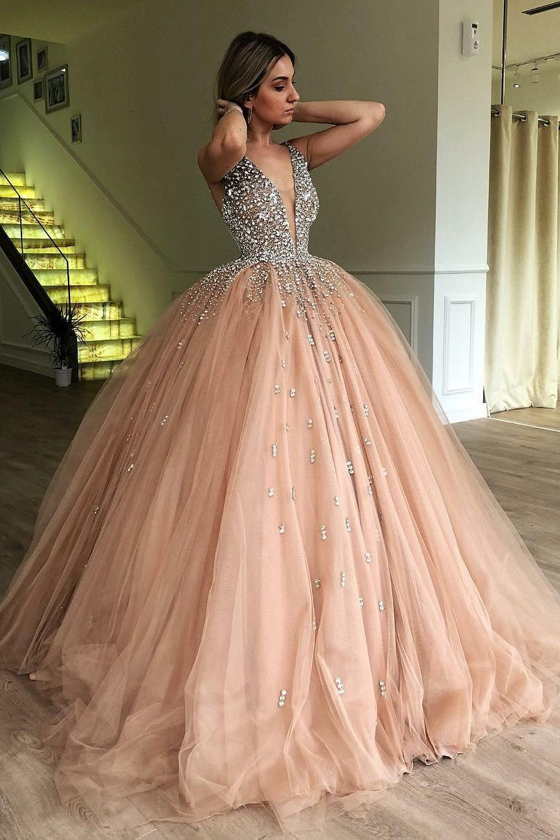 33080b3d08b Tulle Plunging V-Neck Ball Gown Prom Dress With Beads – katebridal