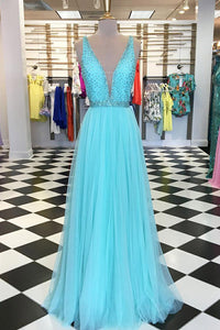 Tulle Plunging V-Neck Floor-Length Formal Evening Dress With Diamante