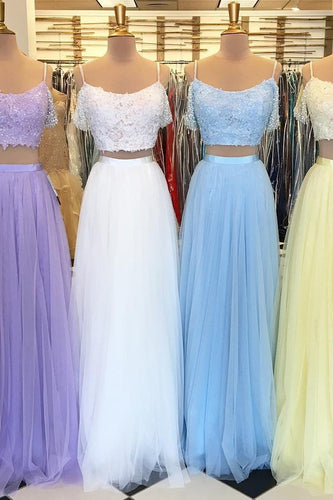 Tulle Two-Piece Spaghetti Strap Prom Dress With Sequinned Lace Bodice