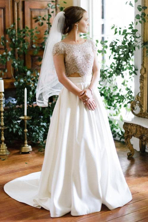 Two-Piece Backless Cap Sleeve Jewel Neck Sweep Train Satin Bridal Dress With Beaded Bodice