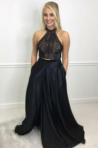 Two-Piece Halter Floor-Length Black Satin Prom Dress With Sequinned Bodice