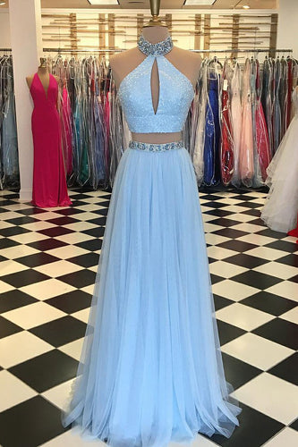 Two-Piece Halter Floor-Length Tulle Prom Dress With Rhinestone