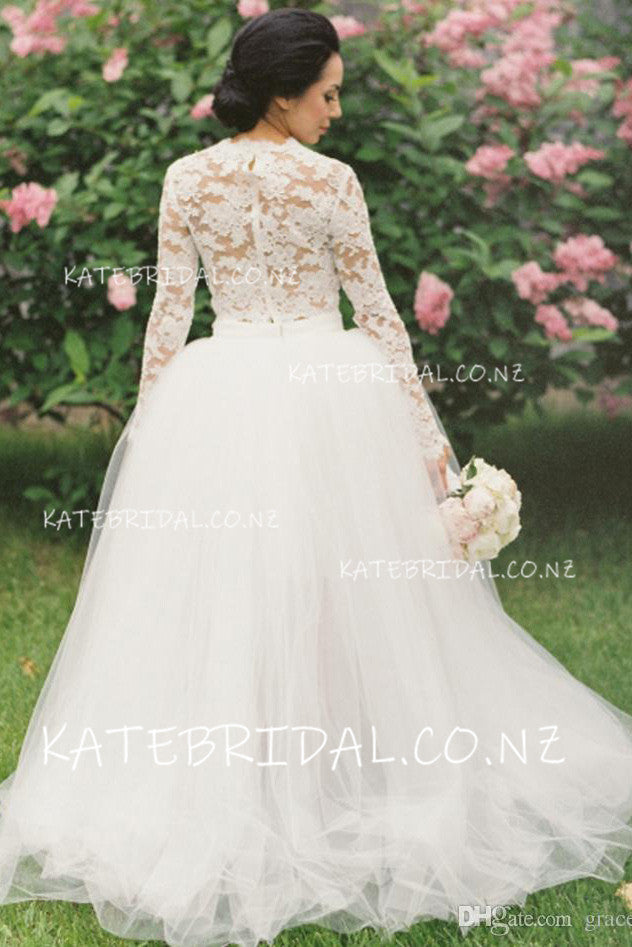 Two-Piece High Neck Long Sleeve Tulle High-Low Ball Gown Bridal Dress With Illusion Lace Bodice