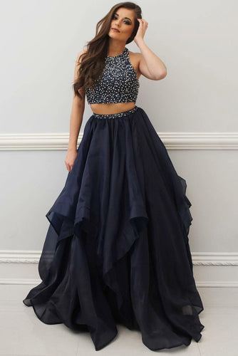 Two-Piece Jewel Neck Floor-Length Chiffon Formal Dress With Sequins