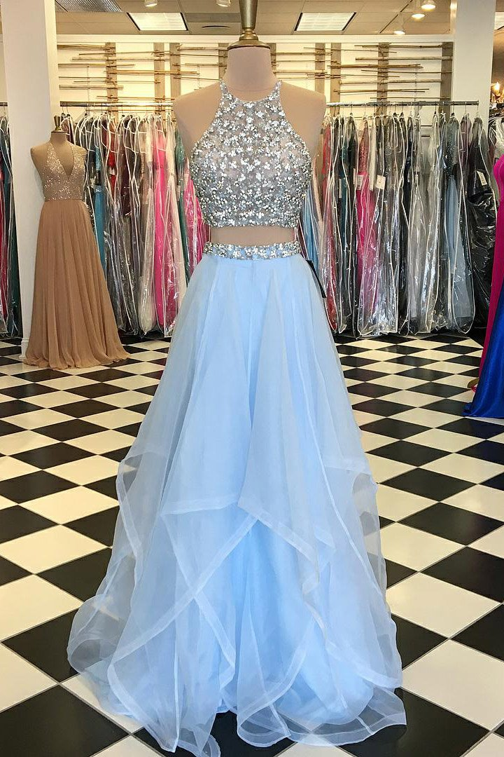 1817f0a00cc11 Two-Piece Jewel Neck Floor-Length Prom Dress With Illusion Crystal Beaded  Bodice