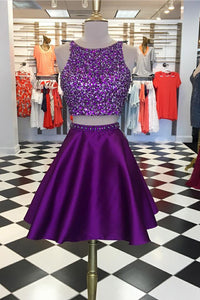 Two-Piece Jewel Neck Satin Short Prom Dress With Sequins & Beads