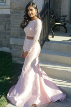 Two-Piece Long Sleeve Satin Mermaid Prom Dress With Beaded Lace Bodice