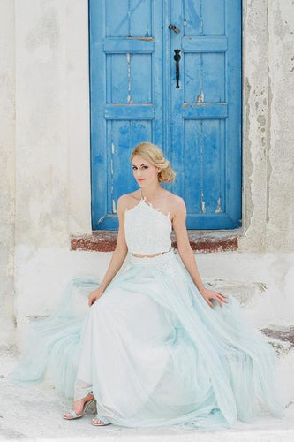 Two-Piece One-Shoulder Floor-Length Tulle Wedding Dress With Lace Applique