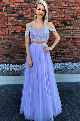 Two-Piece Strap A-Line Floor-Length Tulle Prom Dress With Sequinned Lace Bodice