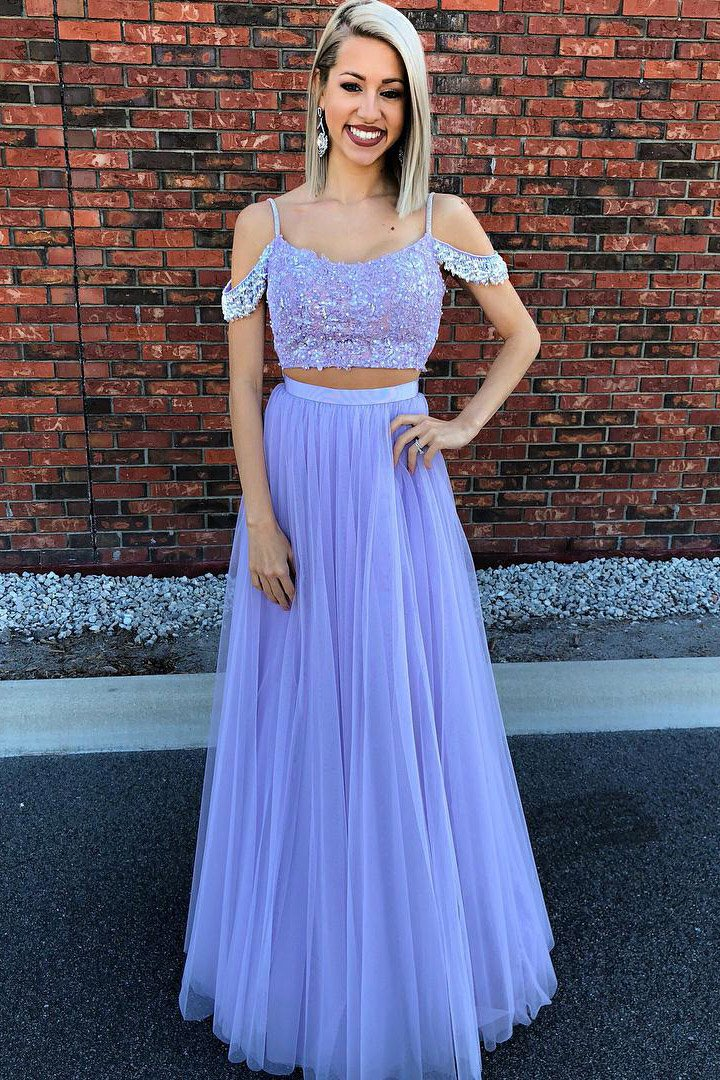 daeb46a0b192 Two-Piece Strap A-Line Floor-Length Tulle Prom Dress With Sequinned Lace