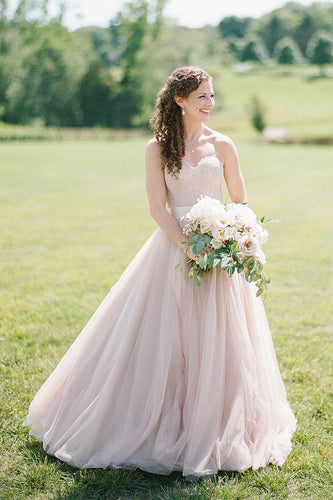Two-Piece Strapless Sweetheart Tulle Wedding Dress With Lace Bodice
