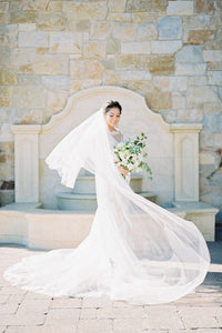 Two-Tier Chapel Length Wedding Veil in Silk Effect Tulle