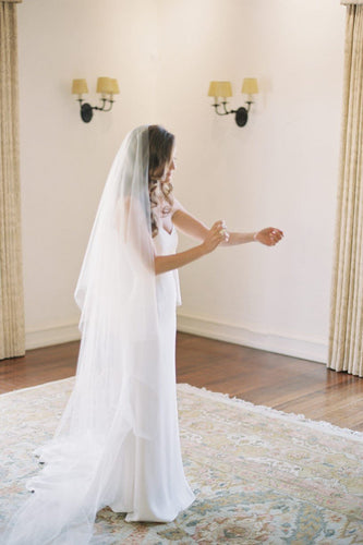 Two Tier Cut Edge Chapel Length Bridal Veil in Silk Effect Tulle