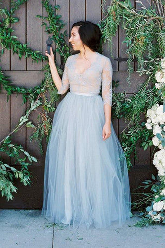 V-Neck 1/2 Sleeve A-Line Floor-Length Tulle Wedding Dress With Sheer Lace Bodice
