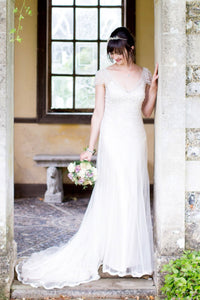 V-Neck Cap Sleeve Sweep Train Wedding Dress With Beads