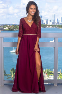 V-Neck 1/2 Sleeve Cut Out Back Floor-Length Split Chiffon Formal Dress With Illusion Lace Bodice