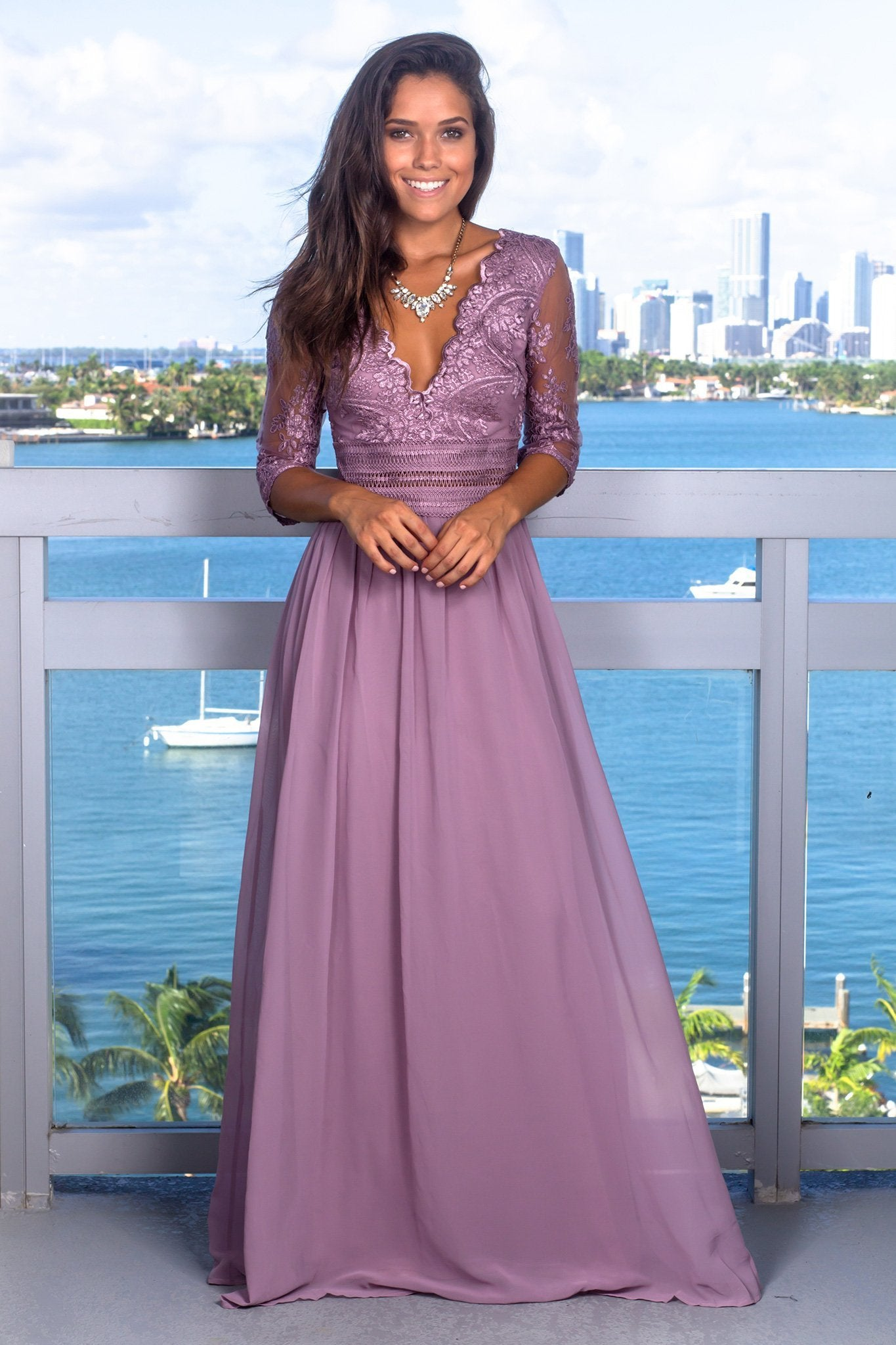 ff904975e41 V-Neck Half Sleeve Chiffon Illusion Long Prom Dress With Applique ...