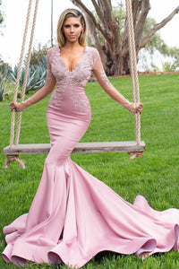 V-Neck Long Sleeve Mermaid Prom Dress With Illusion Lace Bodice
