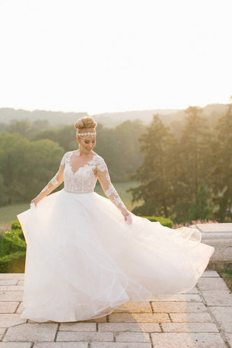 V-Neck Long Sleeve Sweep Train Tulle Bridal Dress With Sheer Lace Bodice