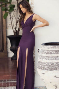 Sexy V-Neck Sleeveless Backless Floor-Length Solid Slit Sheath Evening Dress