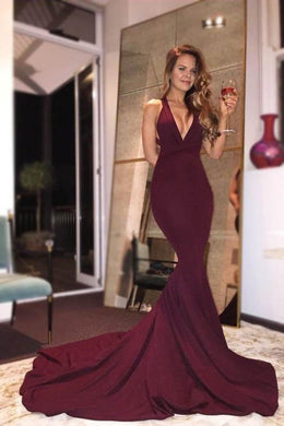 V-Neck Sleeveless Open Back Long Solid Stretch Mermaid Evening Dress with Court Train