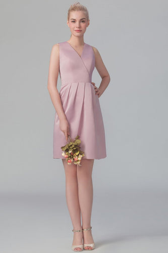 V-Neck Sleeveless Zipper-Up Knee-Length Ruched Satin Bridesmaid Dress