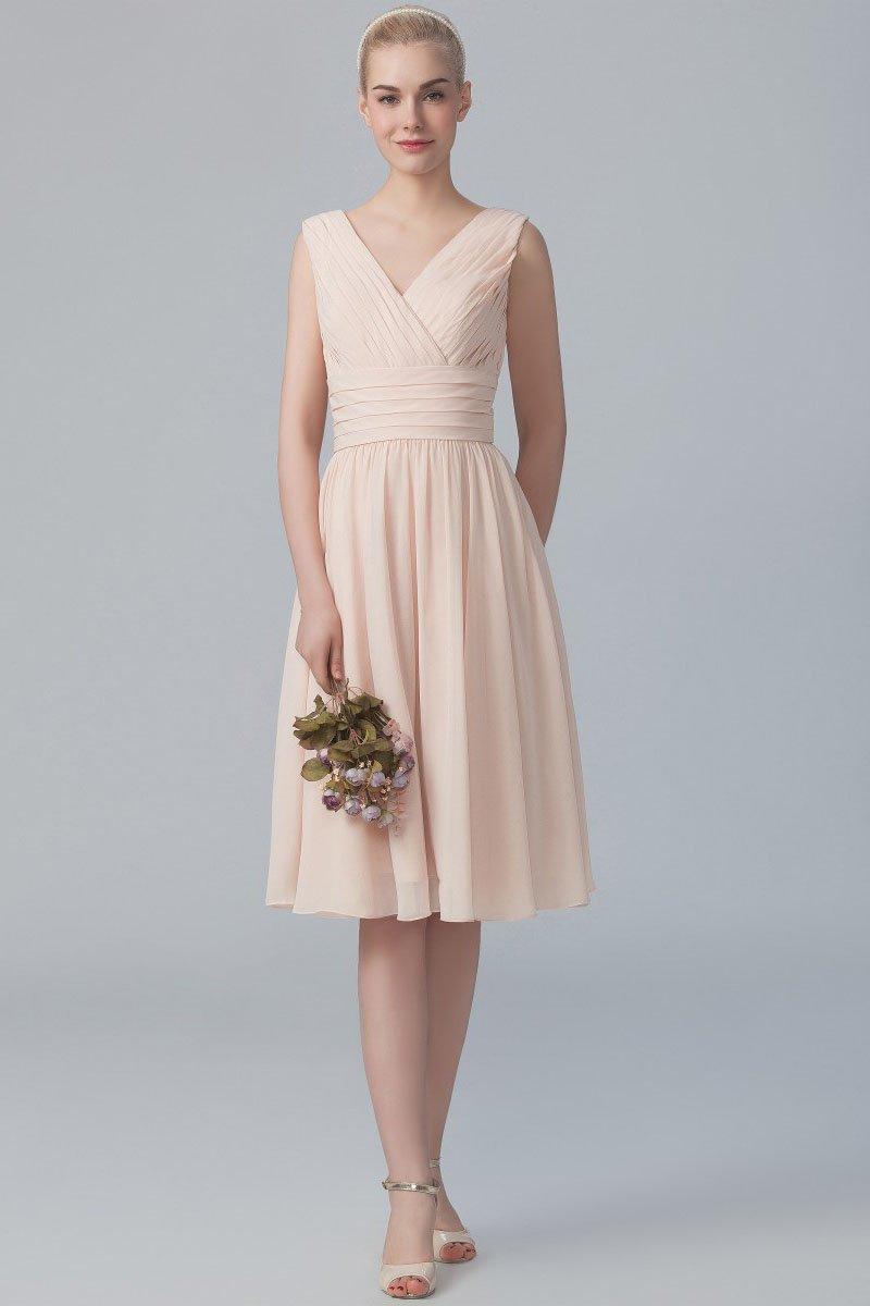 abd65392b25f Empire Waist V-Neck Knee-Length Ruched Chiffon Bridesmaid Dress With Pleats